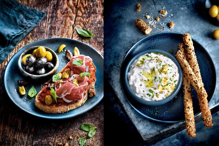 Tartines et verrine aux olives