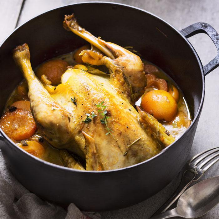 recette de Poulet aux abricots et au cidre