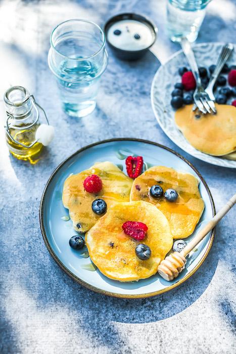 recette de Pancakes aux myrtilles et à l'huile d'olive