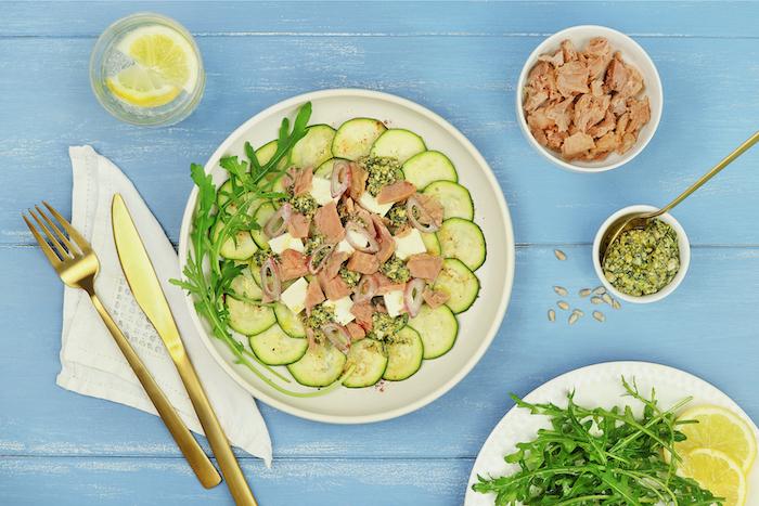 recette de Carpaccio de courgettes marinées et thon