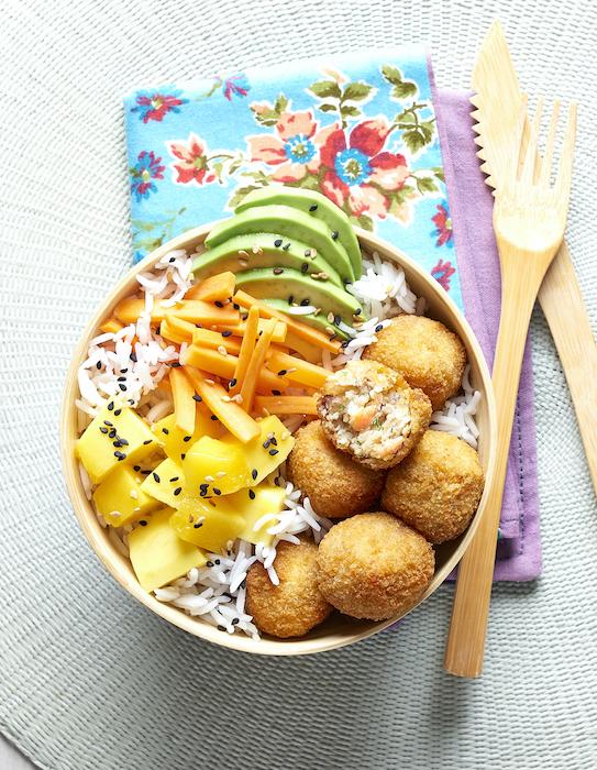 recette de Buddha bowl aux cromesquis de colin