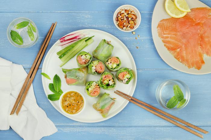 recette de Rouleaux de printemps au saumon fumé