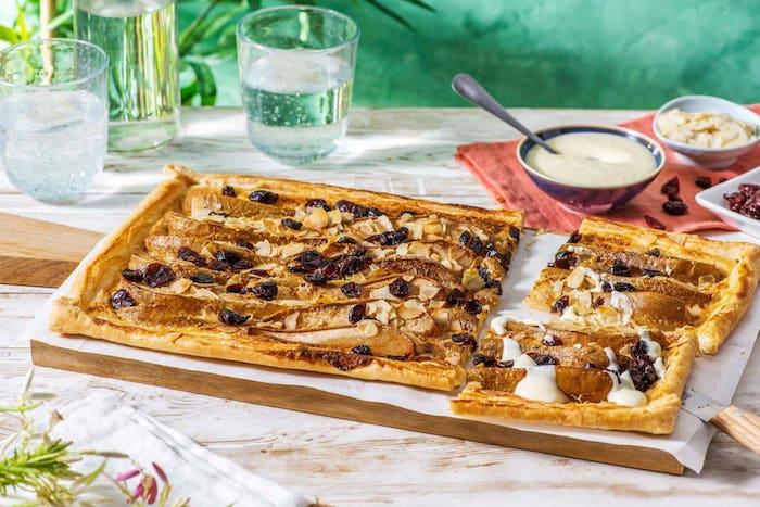 recette de Tarte aux poires et amandes aux canneberges