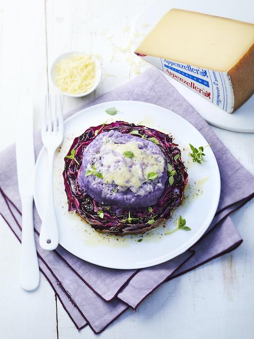 recette de Steak de chou rouge et Vitelotte