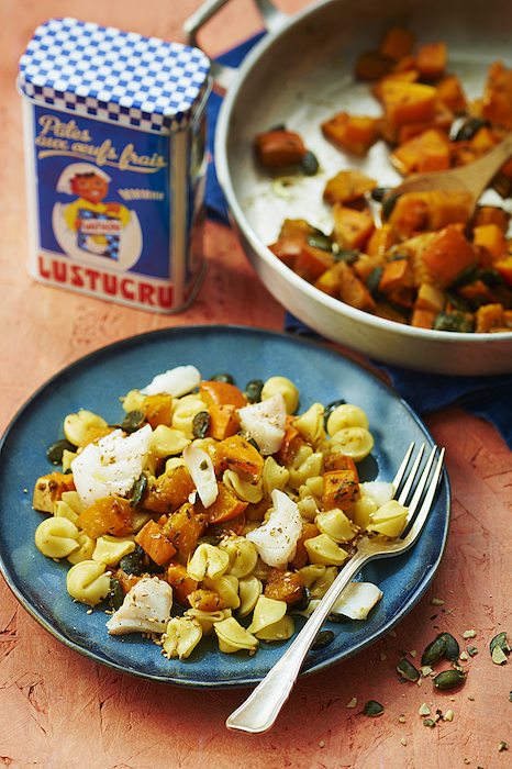 recette de Collerettes aux légumes d'automne et cabillaud