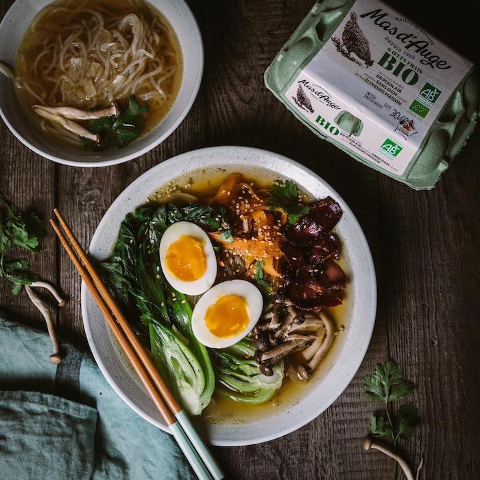 recette de Ramen aux légumes et au canard