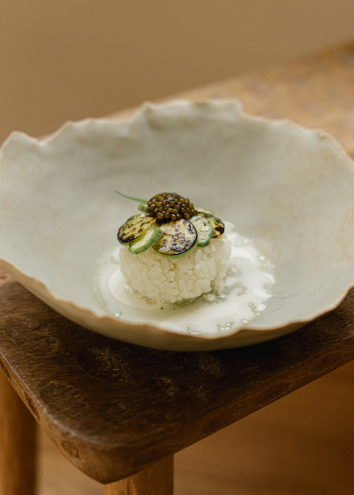 Sticky rice au gombo et caviar