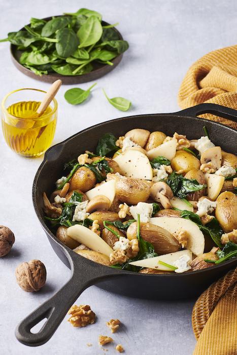 recette de Poêlée de pommes de terre aux champignons
