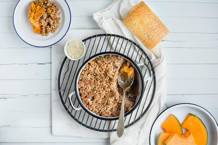 recette de Crumble de noisettes à la courge et Parmigiano