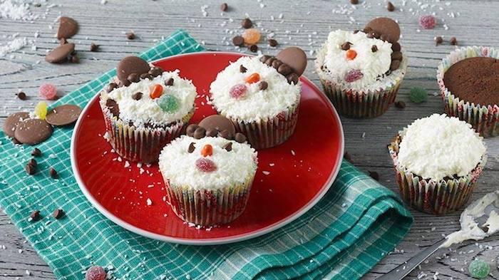 recette de Cupcakes bonhommes de neige