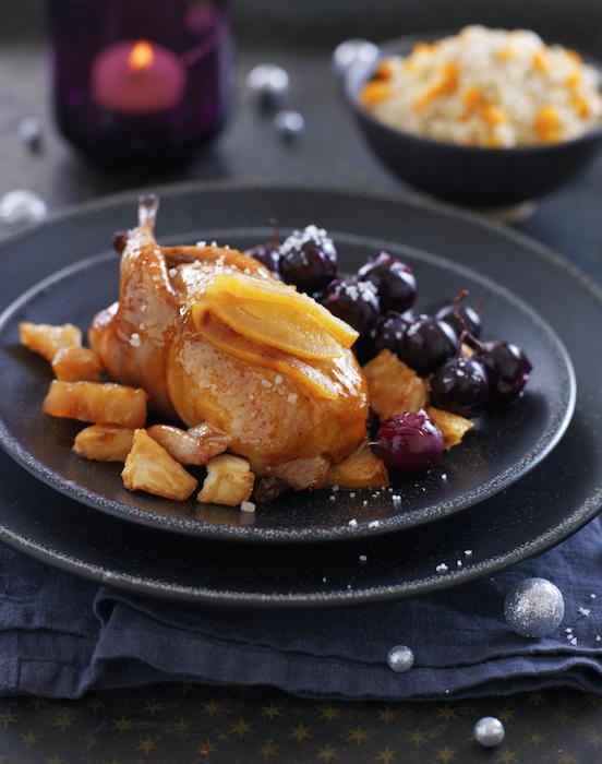 recette de Cailles laquées et raisins noirs