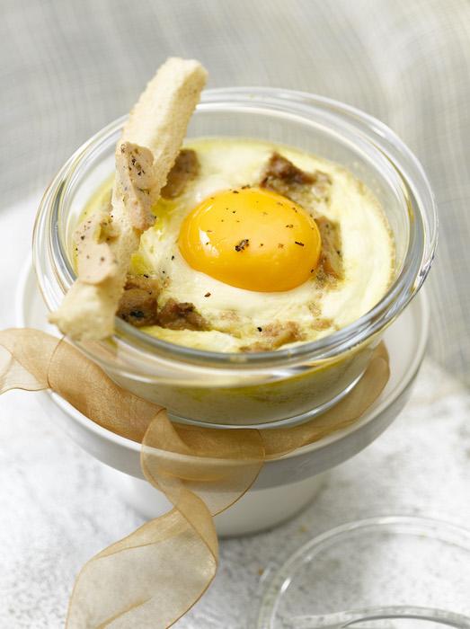 recette d'Oeufs cocotte au foie gras