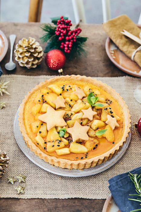 recette de Tarte à l'ananas et fruits de la passion