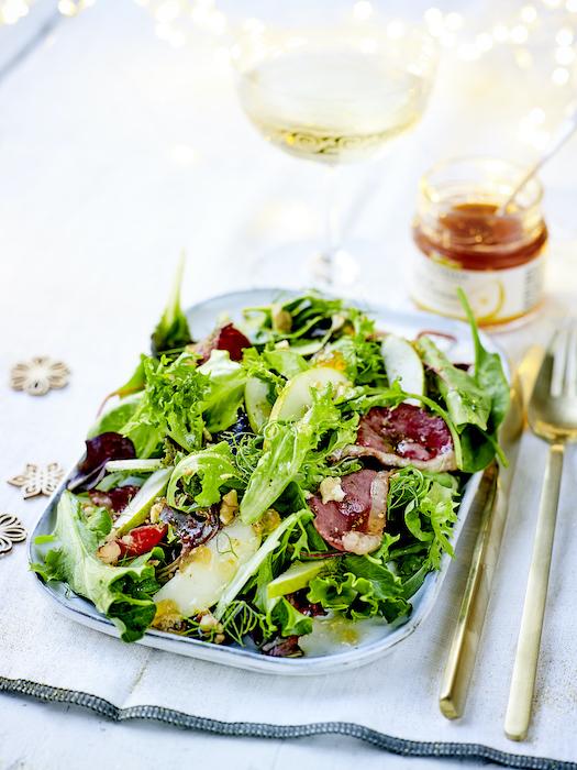recette de Salade de poire au magret fumé