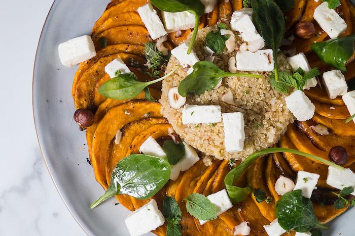recette de Salade de potiron à la feta et au quinoa