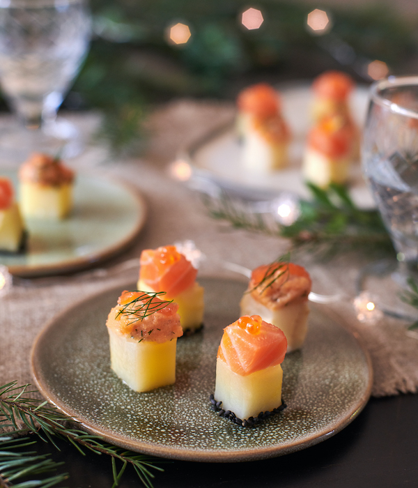 recette de Bouchées apéritives aux deux saumons