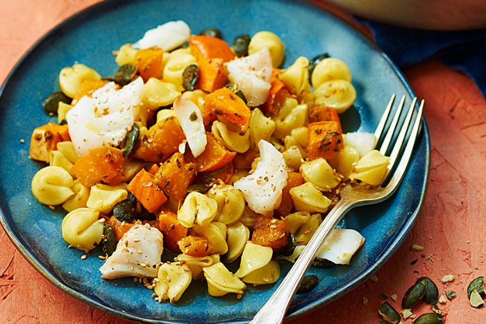 Collerettes aux légumes d'automne et cabillaud