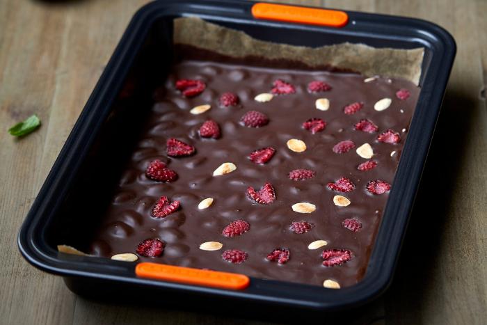 Nougat au chocolat et framboises