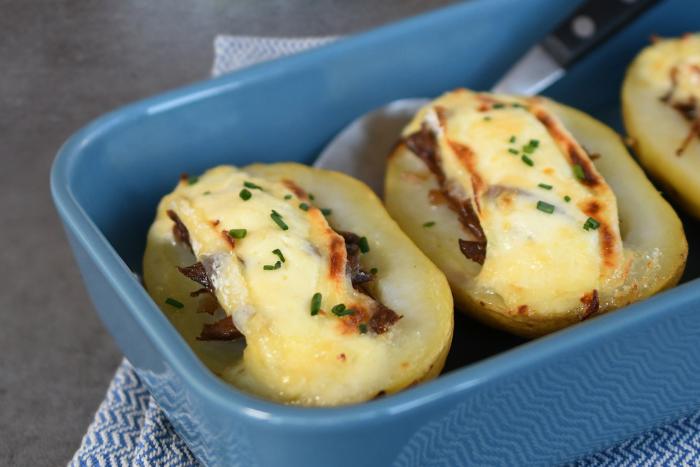 Pommes de terre farcies au canard