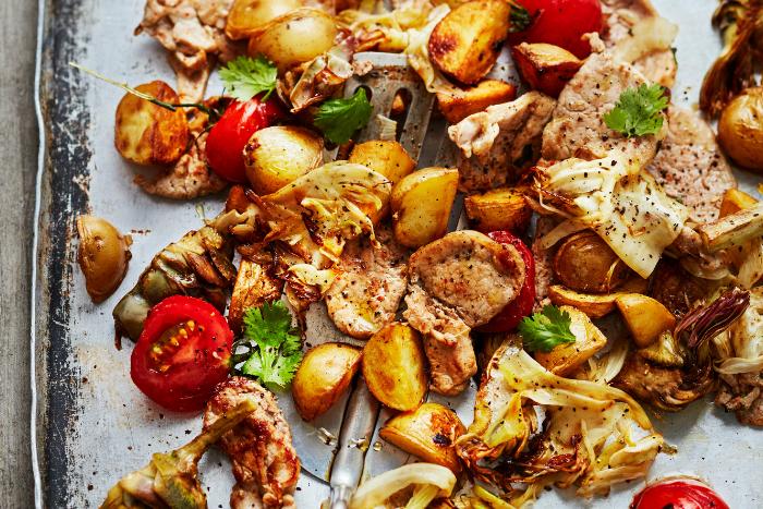Sauté de porc aux légumes à la plancha