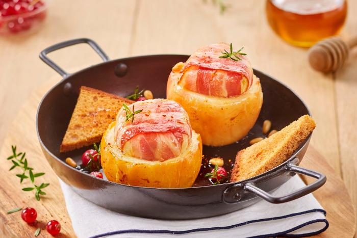 recette de Pommes rôties au chèvre au lard