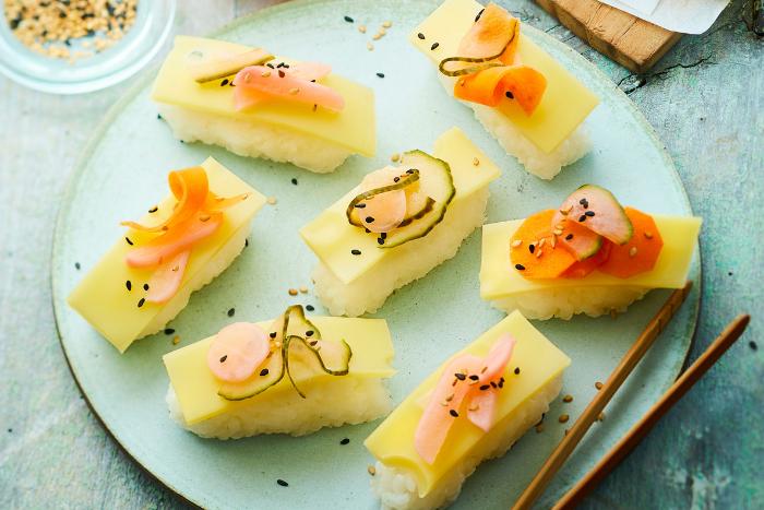 Sushi de riz à l'Emmentaler
