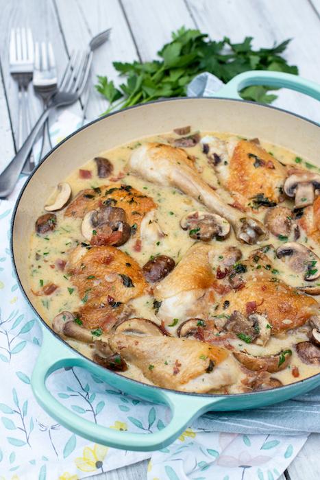 recette de Cuisses de poulet aux champignons et au parmesan