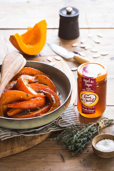 recette de Courge rôtie au miel de thym