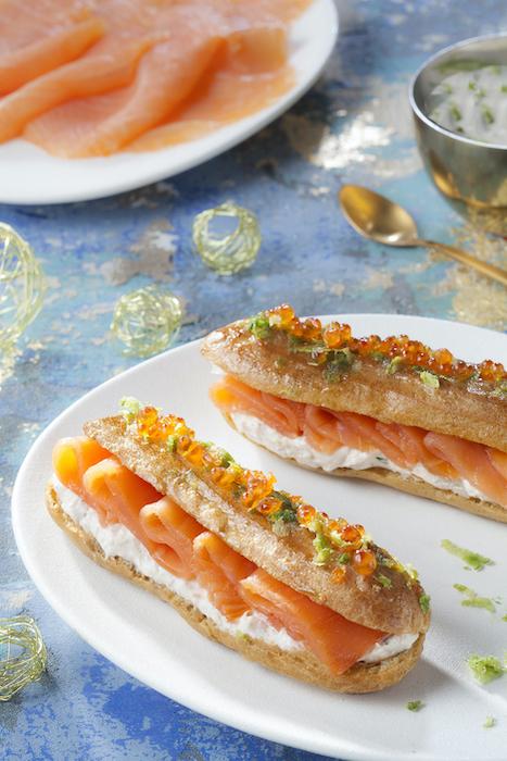 recette d'Eclairs gourmands au saumon fumé