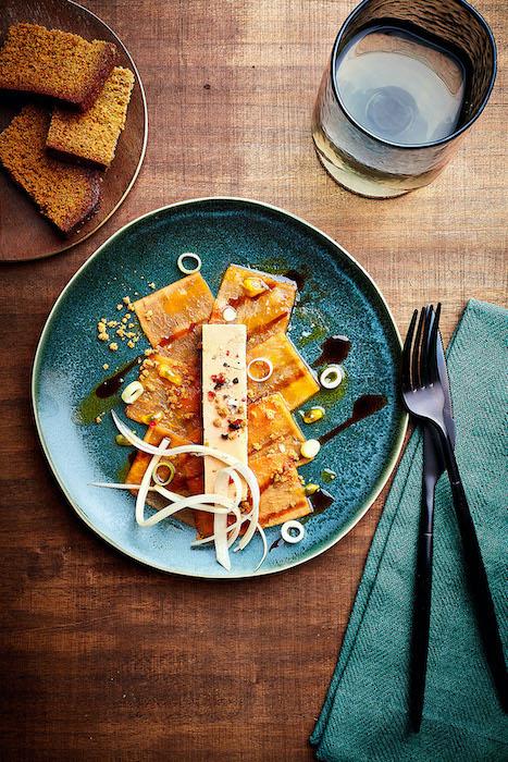 recette de Carpaccio de papaye au foie gras