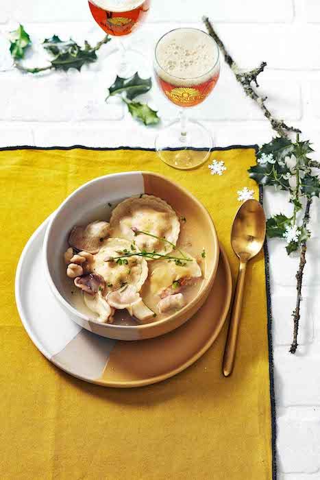 recette de Ravioles de langoustines aux pleurotes