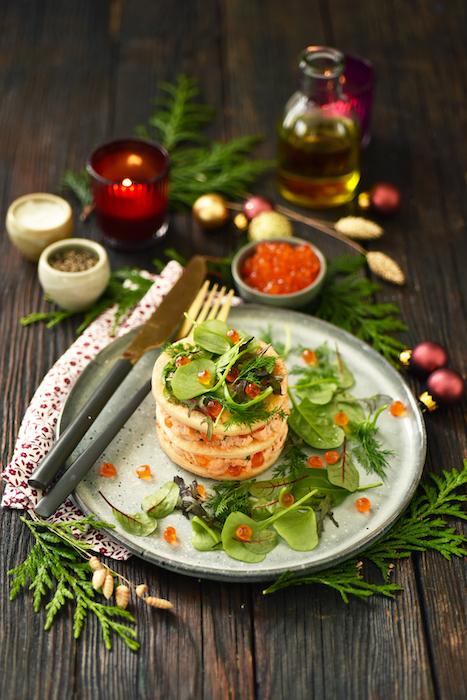 recette de Mille-feuille aux trois saumons