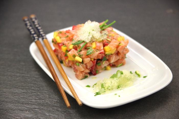 recette de Tartare de saumon et granité de yuzu