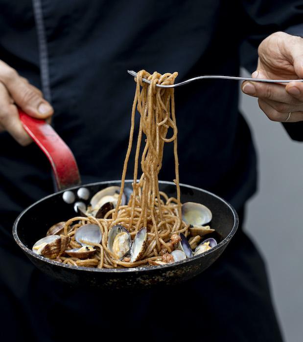 recette de Spaghetti aux seiches et palourdes