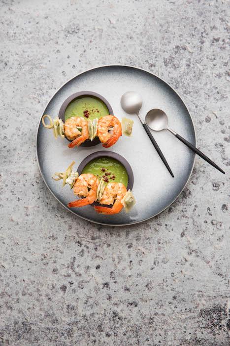 recette de Velouté de petits pois aux crevettes