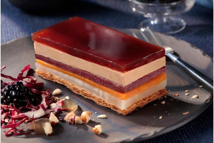 Opéra de foie gras aux légumes