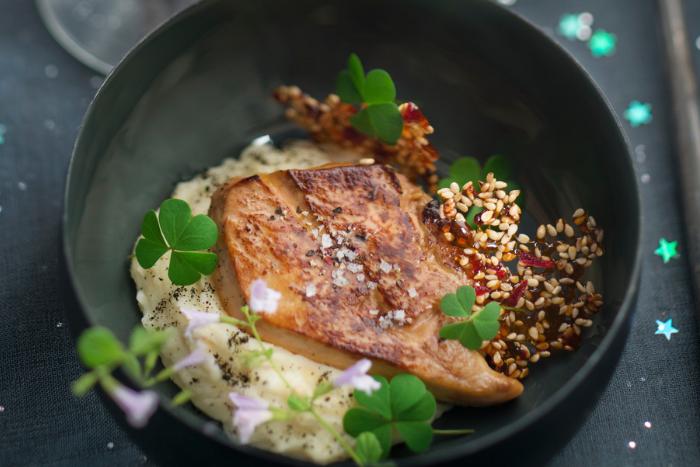 Foie gras poêlé et topinambour