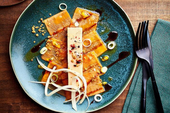 Carpaccio de papaye au foie gras