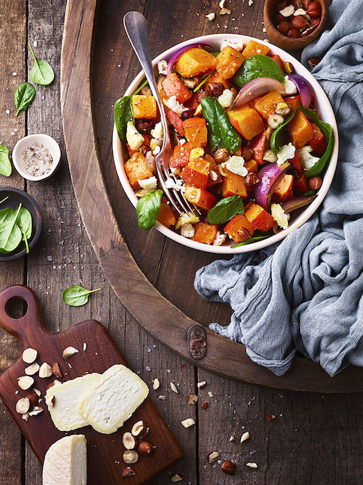 recette de Salade tiède de potimarron rôti
