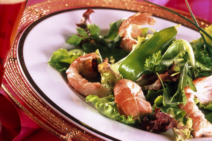 Salade de langoustines et pois gourmands