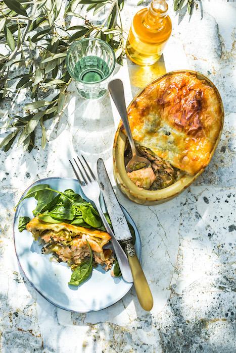 recette de Feuilleté de saumon et poireaux