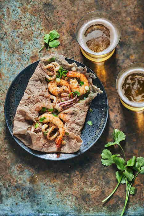 recette de Galettes de sarrasin aux fruits de mer