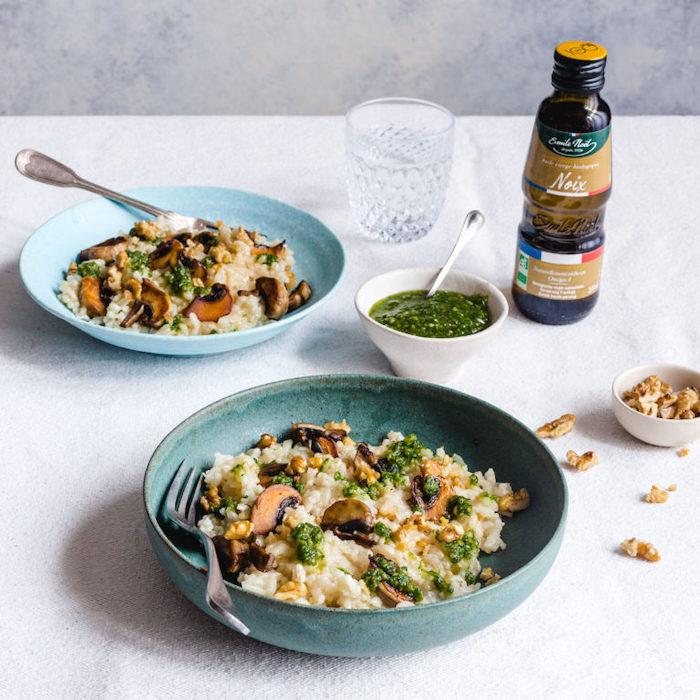 recette de Risotto aux champignons et pesto de noix