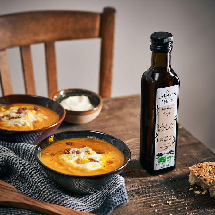 recette de Soupe de potimarron et crème fouettée