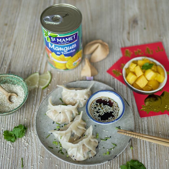 recette de Raviolis chinois aux crevettes et à la mangue
