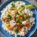 Blanquette de saumon aux poireaux et carottes