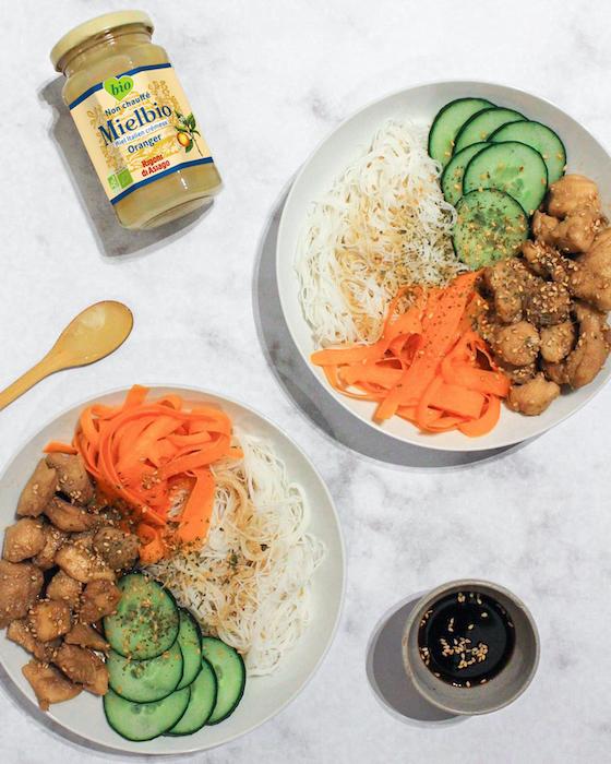 recette de Bobun au poulet laqué au soja