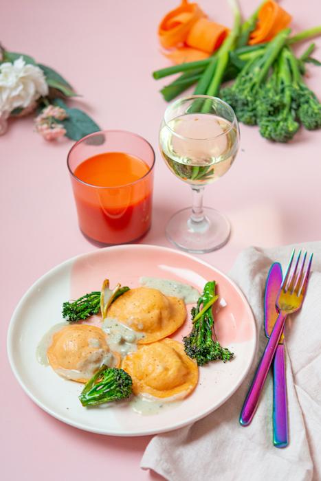 recette de Ravioles aux carottes et bimis poêlés