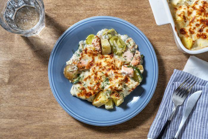 recette de Gratin de pommes de terre au saumon