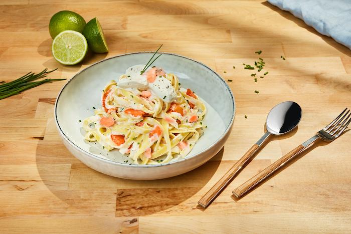 recette de Tagliatelles à la ricotta crémeuse au saumon
